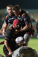 Cory Hill of the Newport Gwent Dragons is helped up by his team mate Ed Jackson after scoring a try. European Challenge cup pool 3 match, Newport Gwent Dragons v Brive, at Rodney Parade in Newport, South Wales on Friday 14th October 2016.<br /> pic by  Simon Latham, Andrew Orchard sports photography.