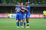 AFC Wimbledon midfielder Dean Parrett (18) celebrating after scoring goal to make it 1-0 during the Pre-Season Friendly match between AFC Wimbledon and Burton Albion at the Cherry Red Records Stadium, Kingston, England on 21 July 2017. Photo by Matthew Redman.