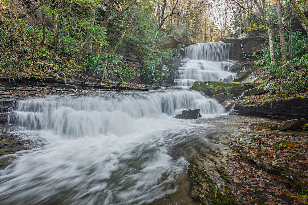 The secluded Laurel Creek falls of the Gauley River National Recreation Area seemingly journeys over multiple stairsteps as it carves through the canyon toward the Gauley River.