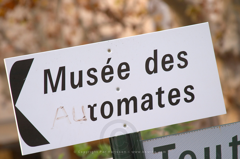 Musee des Automate Tomates, the museum of mechanical toys or perhaps the tomato museum. Town of Limoux. Limoux. Languedoc. France. Europe.