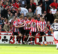 Photo: Mark Stephenson/Richard Lane Photography. <br /> Sheffield United v Cardiff City. Coca-Cola Championship. 19/04/2008. <br /> Sheffield players celebrate Gary Speed's first goal for 1-1