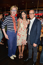 Left to right, HENRY CONWAY, YASMIN MILLS and DAVID LOEWI MD of D&D London at the launch of Giovanni's Gin Joint at Quaglino's, 16 Bury Street, London on 13th July 2016.