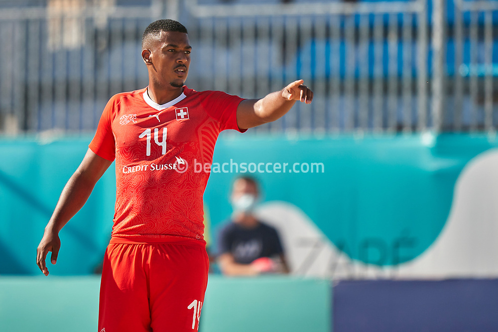NAZARE, PORTUGAL - SEPTEMBER 3: Kevin Wandji of Switzerland during day 2 of the Euro Beach Soccer League Superfinal at Estadio do Viveiro on September 3, 2020 in Nazare, Portugal. (Photo by Jose Manuel Alvarez/BSWW)