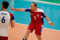 20170524 NED: 2018 FIVB Volleyball World Championship qualification, Koog aan de Zaan<br />Dominik Husi (1) of Luxembourg<br />©2017-FotoHoogendoorn.nl / Pim Waslander