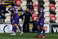 Newport County's Manager Michael Flynn gestures to his players during the EFL Sky Bet League 2 match between Newport County and Tranmere Rovers at Rodney Parade, Newport, Wales on 17 October 2020.