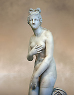 Close up  tree quarter view of 2nd century AD Roman marble sculpture of Aphrodite (Venus), 'Dresden Capitoline Type, copied from a Hellanistic Greek original,  inv 6238, Museum of Archaeology, Italy ..<br /> <br /> If you prefer to buy from our ALAMY STOCK LIBRARY page at https://www.alamy.com/portfolio/paul-williams-funkystock/greco-roman-sculptures.html . Type -    Naples    - into LOWER SEARCH WITHIN GALLERY box - Refine search by adding a subject, place, background colour, museum etc.<br /> <br /> Visit our CLASSICAL WORLD HISTORIC SITES PHOTO COLLECTIONS for more photos to download or buy as wall art prints https://funkystock.photoshelter.com/gallery-collection/The-Romans-Art-Artefacts-Antiquities-Historic-Sites-Pictures-Images/C0000r2uLJJo9_s0c