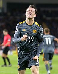 Leicester City's Ben Chilwell celebrates his side's first goal of the game scored by Demarai Gray (not in picture)