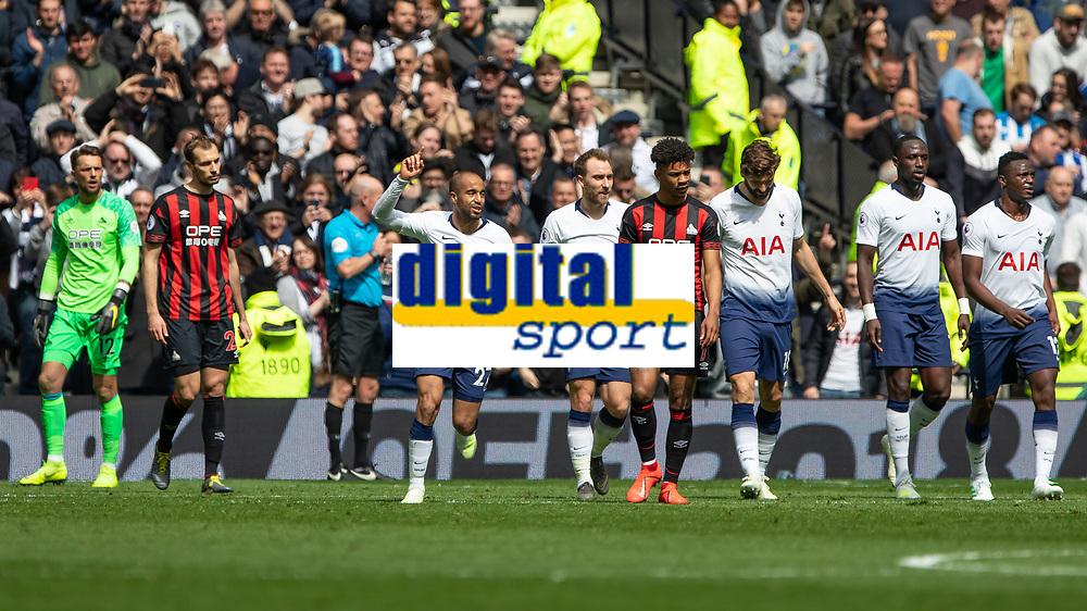 Football - 2018 / 2019 Premier League - Tottenham Hotspur vs. Huddersfield Town<br /> <br /> Lucas Moura (Tottenham FC)  celebrates after scoring at The Tottenham Hotspur Stadium.<br /> <br /> COLORSPORT/DANIEL BEARHAM