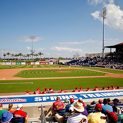 February 24, 2011; Clearwater, FL, USA; A general view from the stands during a spring training exhibition game between the Philadelphia Phillies and  Florida State University at Bright House Networks Field. Mandatory Credit: Derick E. Hingle
