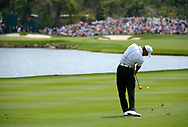 Tiger Woods hits onto the 16th green from the fairway during the third round of the Arnold Palmer Invitational golf tournament in Orlando, Fla., Saturday, March 23, 2013.(AP Photo/Phelan M. Ebenhack)