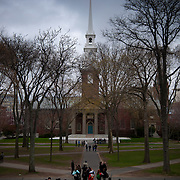 Harvard Memorial Church and Harvard University yard in Cambridge, MA