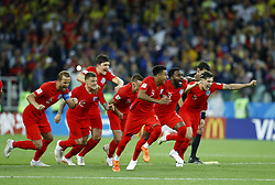 July 3, 2018 - Moscow, Russia - Players of England celebrate the victory after the penalty shootout of the 2018 FIFA World Cup Russia Round of 16 match between Colombia and England at Spartak Stadium on July 3, 2018 in Moscow, Russia. (Credit Image: © Matteo Ciambelli/NurPhoto via ZUMA Press)
