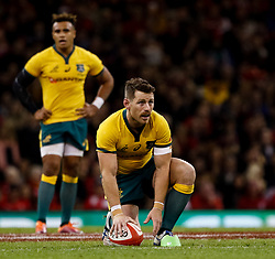 Bernard Foley of Australia prepares to kick at goal<br /> <br /> Photographer Simon King/Replay Images<br /> <br /> Under Armour Series - Wales v Australia - Saturday 10th November 2018 - Principality Stadium - Cardiff<br /> <br /> World Copyright © Replay Images . All rights reserved. info@replayimages.co.uk - http://replayimages.co.uk