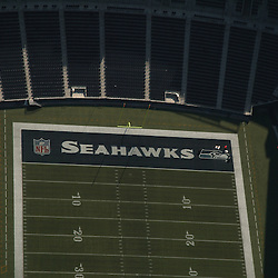 aerial drone view of NFL Seattle Seahawks stadium