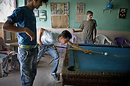 Local man playing billiard at the small town of Aralik...Aralik is a last town   located on the road along the Armenian border to the border-cross to The Nakhichivan Autonomous Republic - landlocked exclave of Azerbaijan.