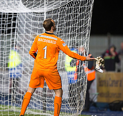 Falkirk's keeper Jamie MacDonald at the end.<br /> Full time : Falkirk 0 v 0 Cowdenbeath, Falkirk win on penalties after extra time, second round League Cup tie played at The Falkirk Stadium.