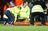 Bjorn Sigurdarson of Wolverhampton Wanderers is stretched off with an injury. The Emirates FA cup, 3rd round match, West Ham Utd v Wolverhampton Wanderers at the Boleyn Ground, Upton Park  in London on Saturday 9th January 2016.<br /> pic by John Patrick Fletcher, Andrew Orchard sports photography.
