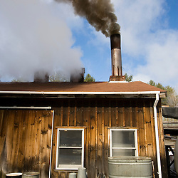 Wood smoke and steam pours our of a sugar house in Barrington, New Hampshire.  The Sugar Shack.