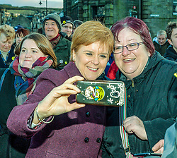Pictured: Nicola Sturgeon joins campaigners for a selfie.<br /> <br /> SNP leader Nicola Sturgeon campaigns in Hawick in the Scottish Borders.<br /> <br /> © Dave Johnston / EEm