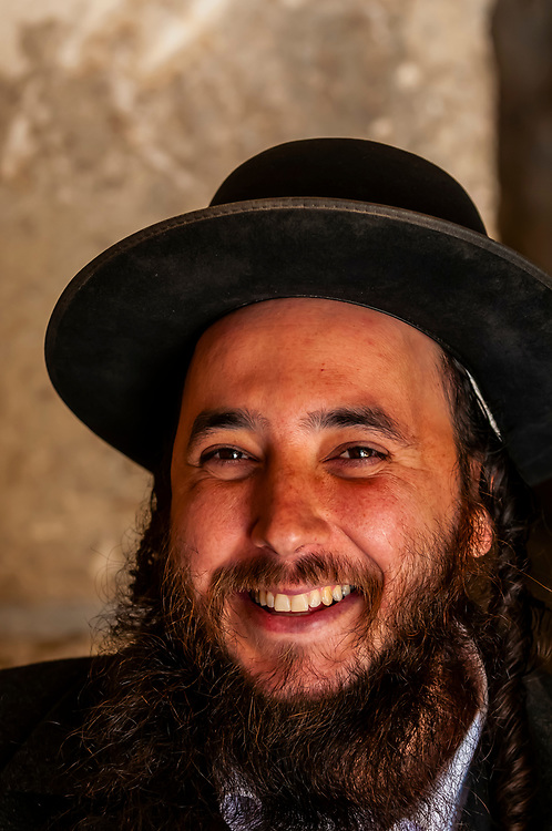 Hassidic Jewish man in the Prayer Hall, a covered section of the Western Wall Plaza, Western Wall (Wailing Wall), Old City, Jerusalem, Israel.