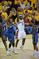 The Washington Wizards defeated the Cleveland Cavaliers 88-87 in Game 5 of the First Round of the NBA Playoffs, April 30, 2008 at Quicken Loans Arena in Cleveland..LeBron James of Cleveland passes out of a triple team by Washington.