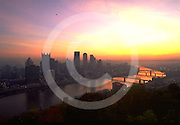 Pittsburgh Skyline, Sunrise from Mount Washington, Monongahela River, PA
