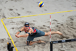 Julius Thole GER in action during the third day of the beach volleyball event King of the Court at Jaarbeursplein on September 11, 2020 in Utrecht.