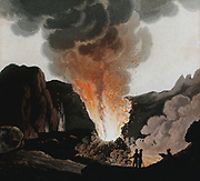 Vesuvius during one of its early 19th century eruptions. People are standing inside the cone which is emitting smoke and flames. Aquatint c1815.