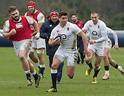 Bagshot, Surrey. UK.<br /> Ben YOUNGS, persuaded by team mates and the coach after making a break through during the  RFU. England Rugby Team, Training session at the Pennyhill Park training complex. <br /> <br /> [Mandatory Credit: Peter SPURRIER;Intersport images]