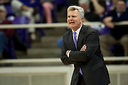 FORT WORTH, TX - JANUARY 7: Kansas State Wildcats head coach Bruce Weber calls a play for his team against the TCU Horned Frogs on January 7, 2014 at Daniel-Meyer Coliseum in Fort Worth, Texas.  (Photo by Cooper Neill/Getty Images) *** Local Caption *** Bruce Weber