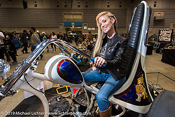 Jamie Noteboom on her custom trike at the Annual Mooneyes Yokohama Hot Rod and Custom Show. Japan. Sunday, December 7, 2014. Photograph ©2014 Michael Lichter.