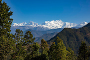 The Mansiri Himal mountain range and Himalchuli mountain on the 6th of March 2020 in the Mansiri Hilam subrange of the Himalayas in North Central Nepal.  Himalchuli is the second highest mountain in the Mansiri Himal, part of the Nepalese Himalayas. Himalchuli has three main peaks: East, West and North.