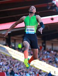 Godfrey Khotso Mokoena in the Long Jump during the Sainsbury's Birmingham Grand Prix at The Alexander Stadium, Birmingham.