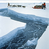 INTERNATIONAL ARCTIC PROJECT. Takako Takano leads Will Steger's dogs over lead on frozen Arctic Ocean. (MR)