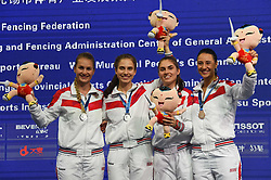 WUXI, July 27, 2018  Silver-medalists players of Russia celebrate during the awarding ceremony for women's sabre team competition at the Fencing World Championships in Wuxi, east China's Jiangsu Province, July 27, 2018. (Credit Image: © Li Bo/Xinhua via ZUMA Wire)