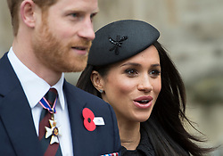 The Duke of Cambridge, Prince Harry and Meghan Markle attend an Anzac Day Service of Commemoration and Thanksgiving at Westminster Abbey, London, UK, on the 25th April 2018. Picture by Eddie Mulholland/WPA-Pool. 25 Apr 2018 Pictured: Prince Harry, Meghan Markle. Photo credit: MEGA TheMegaAgency.com +1 888 505 6342
