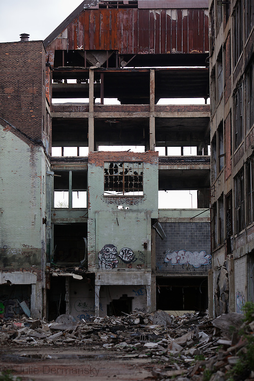 Industrial landscape at the Packard Plant in Detroit.