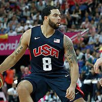 10 August 2012: USA Deron Williams dribbles during 109-80 Team USA victory over Team Argentina, during the men's basketball semi-finals, at the North Greenwich Arena, in London, Great Britain.