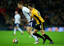 Fernando Llorente of Tottenham Hotspur Battles for the ball with Ben White of Newport County - Mandatory by-line: Alex James/JMP - 07/02/2018 - FOOTBALL - Wembley Stadium - London, England - Tottenham Hotspur v Newport County - Emirates FA Cup fourth round proper