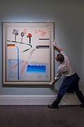 DAVID HOCKNEY, DIFFERENT KINDS OF WATER POURING INTO A SWIMMING POOL, SANTA MONICA, Estimate £ 6,000,000-8,000,000 - Highlights From London's Flagship Sales of Impressionist, Modern, Surrealist & Contemporary Art at Sotheby's London.