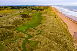 Aerial view of Trump International Golf Links golf course at Belmedie in Aberdeenshire, Scotland, UK