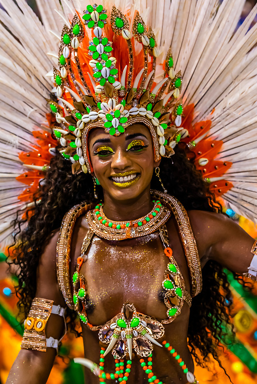 Samba dancer in the Carnaval parade of Unidos de Bangu samba school in the Sambadrome, Rio de Janeiro, Brazil.