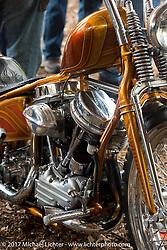 Ray Llanes' custom Harley-Davidson Panhead in the Cycle Source Magazine show at the Broken Spoke Saloon during Daytona Beach Bike Week. FL. USA. Tuesday, March 14, 2017. Photography ©2017 Michael Lichter.