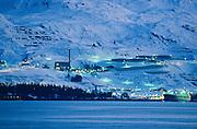 Alaska.  Prince William Sound.  Valdez.  Alyeska Pipeline Terminal at twilight.