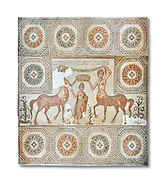 4th century Roman mosaic panel of the Goddess Venus from Ulules (Elles), Tunisia. Venus of Aphrodite is accompanied by 2 female centaurs, half women half horse creatures, known as Am(azoniu) and Titonius. The are crowning Venus The Bardo Museum, Tunis, Tunisia. The Bardo Museum, Tunis, Tunisia. White background .<br /> <br /> If you prefer to buy from our ALAMY PHOTO LIBRARY  Collection visit : https://www.alamy.com/portfolio/paul-williams-funkystock/roman-mosaic.html - Type -   Bardo    - into the LOWER SEARCH WITHIN GALLERY box. Refine search by adding background colour, place, museum etc<br /> <br /> Visit our ROMAN MOSAIC PHOTO COLLECTIONS for more photos to download  as wall art prints https://funkystock.photoshelter.com/gallery-collection/Roman-Mosaics-Art-Pictures-Images/C0000LcfNel7FpLI