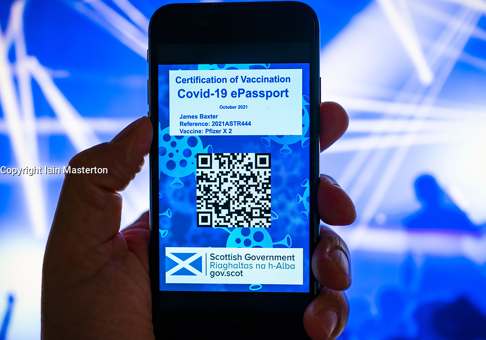 Edinburgh, Scotland, UK. 10th September 2021. Mock-up conceptual design of the forthcoming covid-19 vaccine passport app that is planned by the Scottish Government for launch on 1 October 2021. A vaccine passport will be required to gain entry into nightclubs and other hospitality venues and large public gatherings in Scotland. Iain Masterton/Alamy Live News