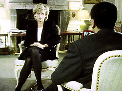 Embargoed to 0001 Monday October 31 File photo dated 20/11/95 of Diana, Princess of Wales, during her interview with Martin Bashir for the BBC, which is on a new chart of the most-watched programmes in the 80-year history of British television.