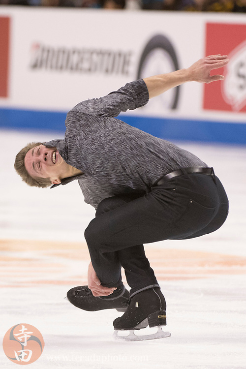 January 4, 2018; San Jose, CA, USA; Timothy Dolensky performs in the mens short program during the 2018 U.S. Figure Skating Championships at SAP Center.