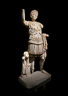 Roman statue of Emperor Trajan. Marble. Perge. 2nd century AD. Inv no . Antalya Archaeology Museum; Turkey. Against a black background.<br /> <br /> Trajan Roma Emperor  from 98 to 117 AD. .<br /> <br /> If you prefer to buy from our ALAMY STOCK LIBRARY page at https://www.alamy.com/portfolio/paul-williams-funkystock/greco-roman-sculptures.html . Type -    Antalya     - into LOWER SEARCH WITHIN GALLERY box - Refine search by adding a subject, place, background colour, museum etc.<br /> <br /> Visit our ROMAN WORLD PHOTO COLLECTIONS for more photos to download or buy as wall art prints https://funkystock.photoshelter.com/gallery-collection/The-Romans-Art-Artefacts-Antiquities-Historic-Sites-Pictures-Images/C0000r2uLJJo9_s0