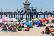 Summer Crowd Watching the US Open of Surfing at Huntington Beach Pier
